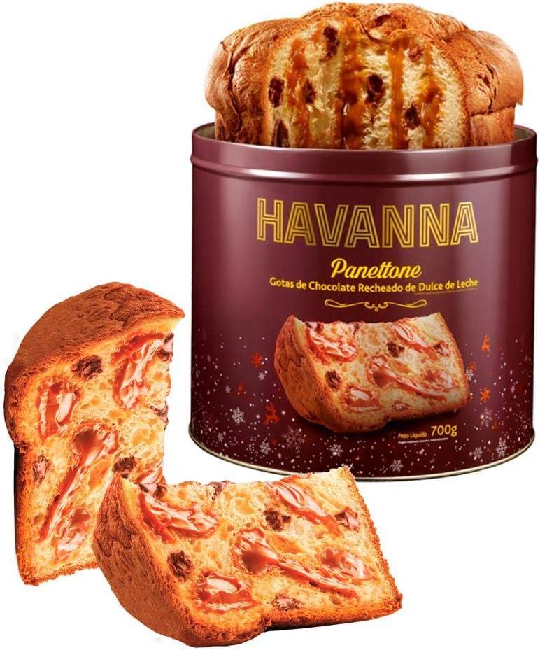 Panettone Havanna Lata Gotas de Chocolate Recheado Doce de Leite 700g por HAVANNA