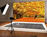 Laeacco 7x5ft Vinyl Photography Backgrounds Scenic Theme Golden Fall Trees and Leaves Photo Backdrop for Children Girls Lovers Outdoor Shooting Studio Props