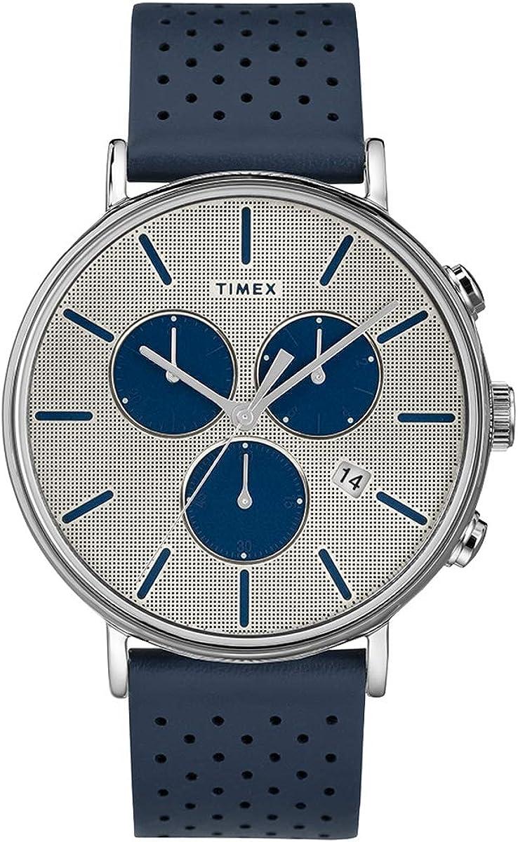 Timex Fairfield TW2R97700 Men's Supernova Leather Band Chronograph Watch