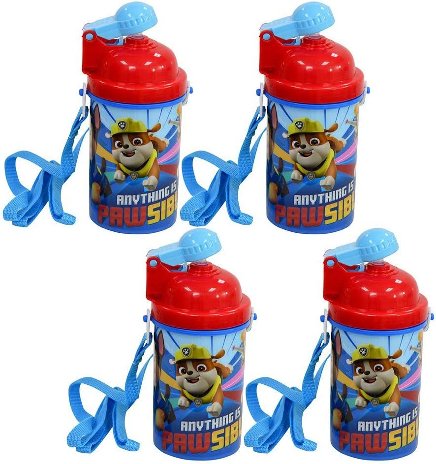 Zak Designs [4-Pack] Paw Patrol Kids 12oz Pop-up Lid Canteen Water Bottles with Carrying Strap