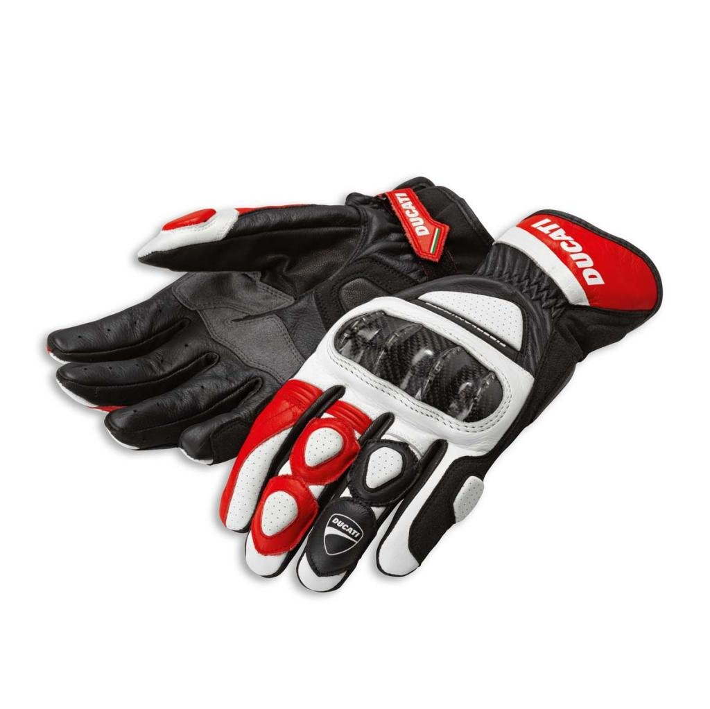 Ducati 981028234 Sport C2 Leather Gloves - Red - Medium by Ducati