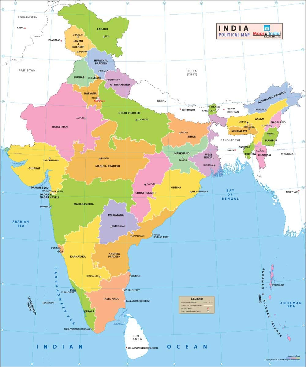 pictures of india map Vinyl Print Political Map Of India 48x 39 92 Inches Maps Of pictures of india map