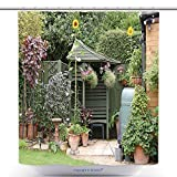 gazebo curtains home depot vanfan-Cool Shower Curtains English Back Garden Patio Area In Summer With Gazebo Hanging Baskets And Sunflowers Polyester Bathroom Shower Curtain Set With Hooks(72 x 108 inches)