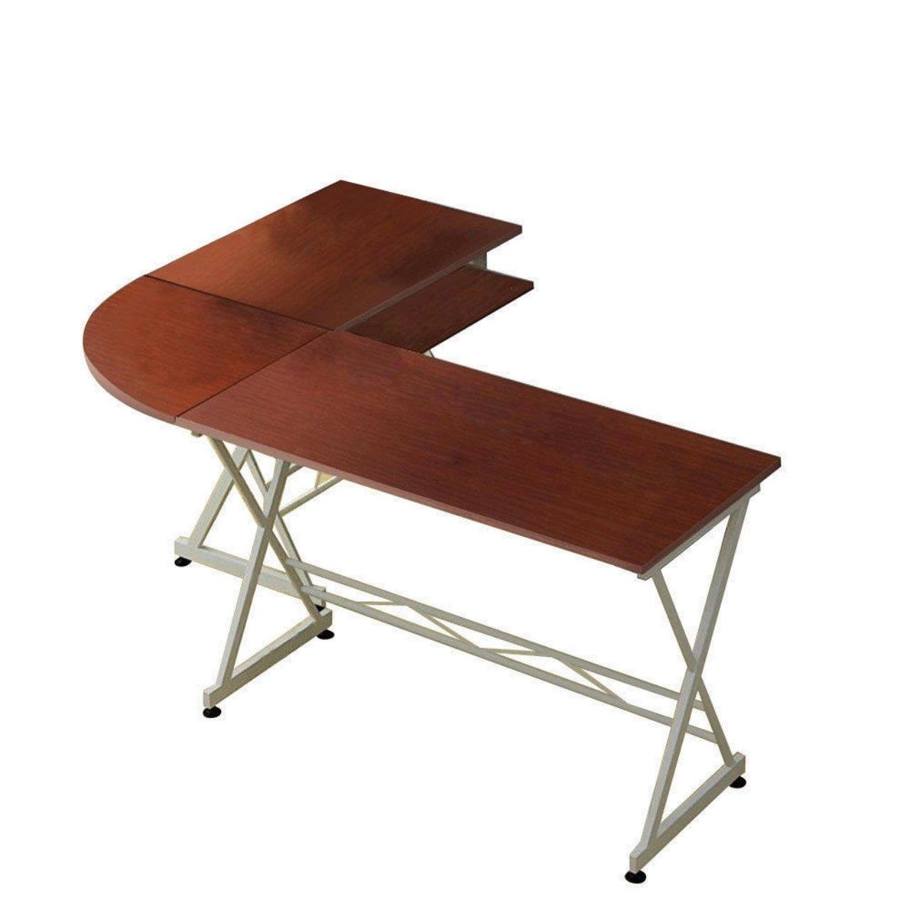 Solid Wood Laptop Computer Desk Corner PC Table Workstation Home Office Decor Furniture/ Brown #1038 by Koonlert@shop