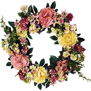 Emlyn Silk Summer Door Wreath 16 Inch -Handcrafted On A Grapevine Wreath Base- Multi Tones 5