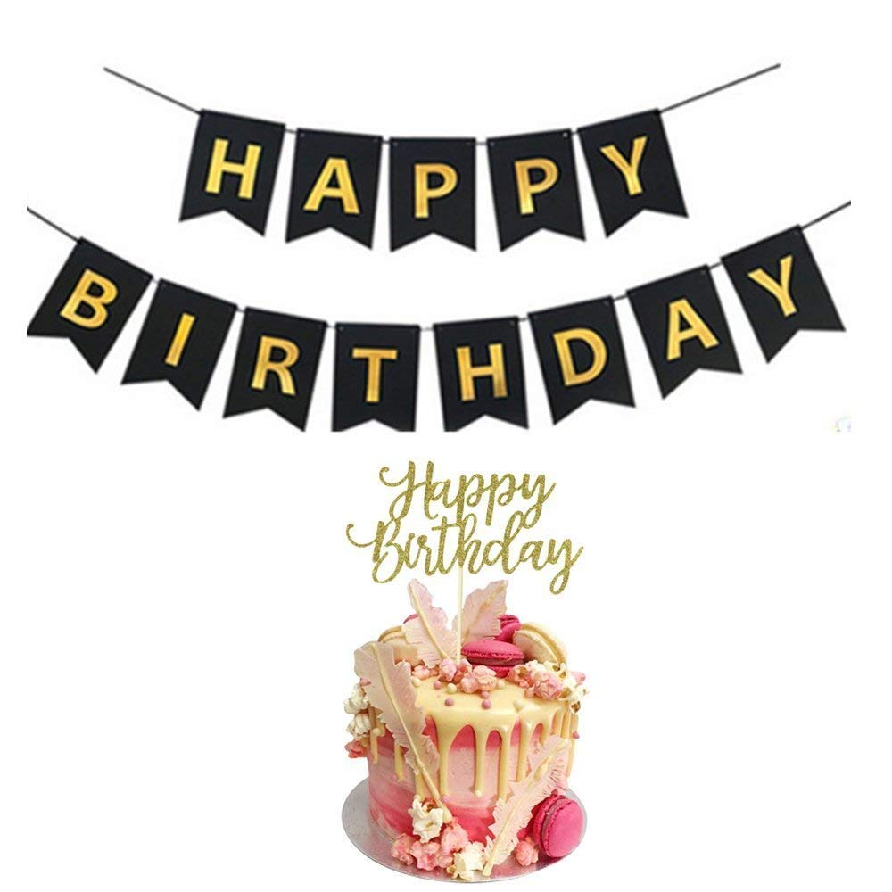 Amazon YOFEY1 Happy Birthday Banner Cake Topper Black And Gold Toys Games