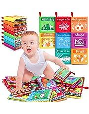 RenFox 8 Stks Zachte Boeken voor Baby's Doek Boek Baby Stof Boek Mijn Eerste Zachte Baby Boek Veilig Niet-Giftig Bijtbaar Rustig Boek Crinkle Boek Beste Speelgoed voor Peuters Vroege Onderwijs Intelligentie Ontwikkeling
