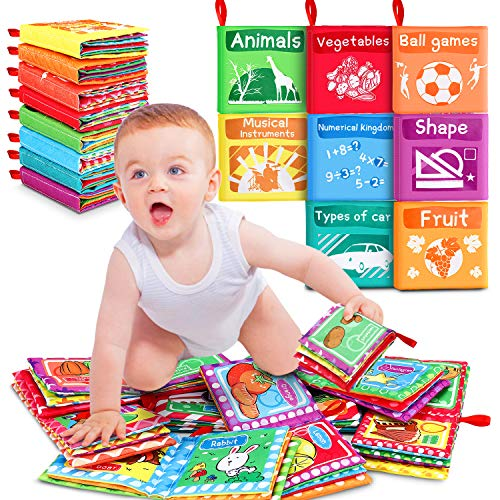 8Pcs Soft Books for Babies Cloth Book Baby Fabric Book My First Soft Baby Book Safe Non-Toxic Biteable Quiet Book…