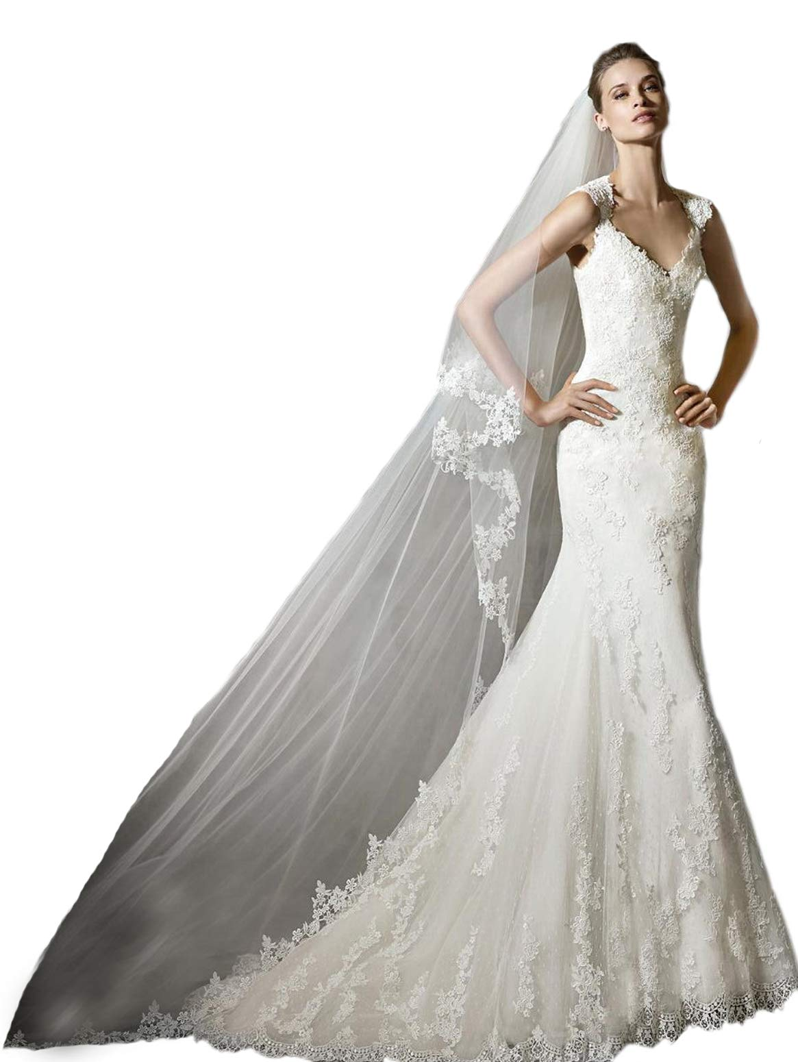 Passat Ivory 2 Tiers Soft French lace wedding veils Flowers Cathedral Bridal Veil With Comb 262