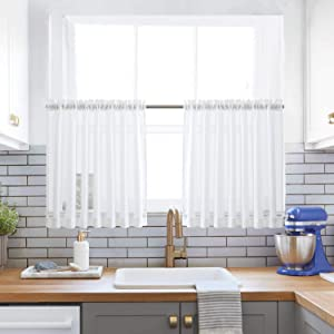 "XWTEX White Kitchen Tier Curtains Rod Pocket Linen Like Privacy Semi Sheer Drapes Half Window Curtain Panels for Bathroom, 2 Panels, 36"" L"