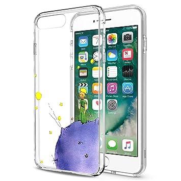 Funda iPhone 8 Plus, YOEDGE Ultra Slim Cárcasa Silicona Transparente con Dibujos Animados Diseño Patrón [El Principito] Resistente Bumper Case Cover ...
