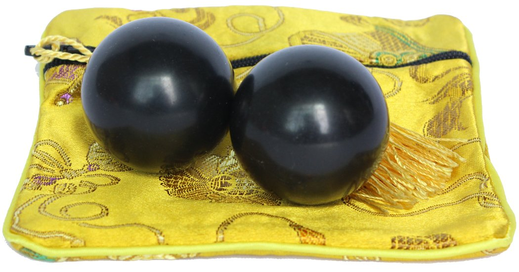 2PCS Pair of Baoding Health Balls Chinese Exercise Stress Chime Balls Craft Collection Chrome Beautiful Palm Messager--A Handy Instrument for Health Care Small(paleography) ( Black L)