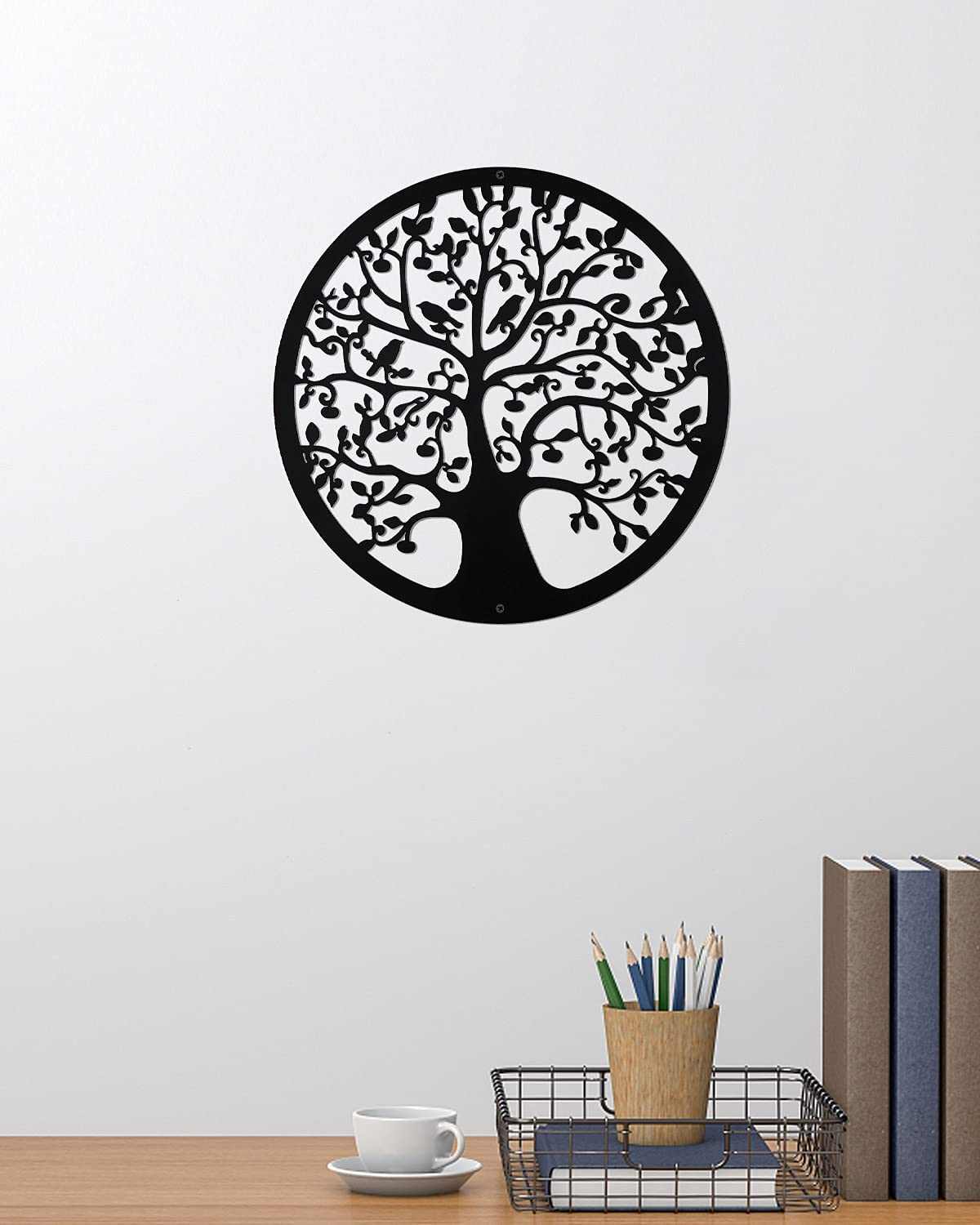 Metal Tree of Life Wall Hanging Art Sculpture 12 Inches Family Tree with Birds on Branches Round Contemporary Home Office Decor Cut Round Decorative Wall Hanging Garden Art Sculpture