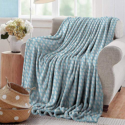 (XavieraDoherty Flannel Blanket,Baby,Diagonal Footprint Pattern Newborn Children Themed Illustration Happy Moments, Pale Blue White,Extra Cozy, Machine Washable, Comfortable Home Decor 70