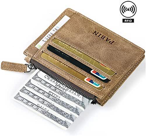 RFID Blocking Leather Business Card Holder for Men Credit Card Protector Vintage