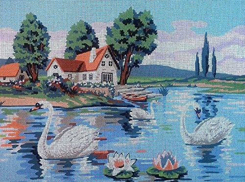 (SWANS IN THE LAKE NEEDLEPOINT CANVAS)