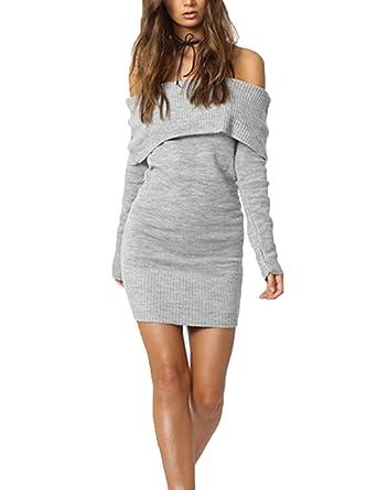 4e916e7fae UZZDSS Women Sexy Long Sleeve Autumn Winter Bodycon Off Shoulder Knitted  Sweater Dress - Grey -  Amazon.co.uk  Clothing