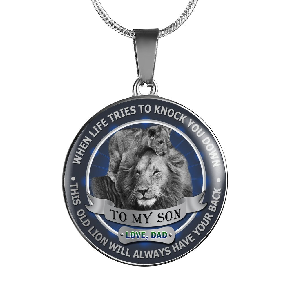 To My Son Pendant Necklace Love Dad Father and Son Lion - Inspirational Personalized Birthday Gifts for Teen Son, Tween Boy - This old Lion will always have your back