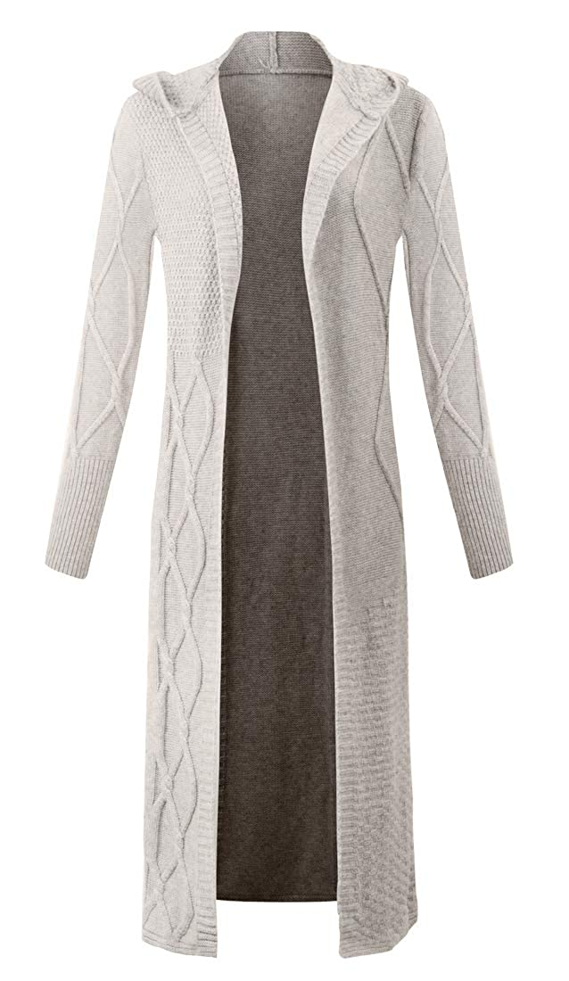 Camel Panreddy Women's Wool Thicken Long Open Front Knitted Cardigan with Hat