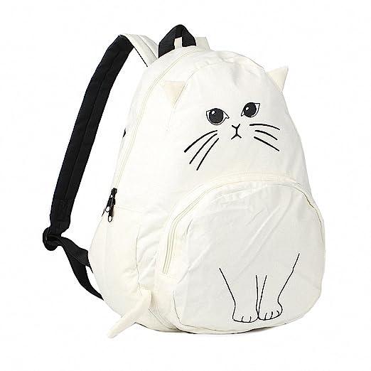 Amazon.com | sac a dos Ears Cute Cat Japan Women Backpacks for Teenage Girl School Bag Mochila Gato Animal Print Fashion Canvas Bagpack 435 Beige | Kids ...
