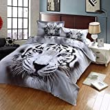 Cliab White Tiger Bedding Set 3D Animal Print for Kids Boys Teens Twin Size Duvet Cover Set 5 Pieces(Fitted Sheet Included)