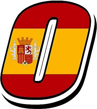 Biomar Labs® Número 0 Bandera Nacional España Spain Calavera Vinilo Adhesivo Pegatina Coche Auto Motocross Moto Sport Start Racing Tuning N 280: Amazon.es: Coche y moto