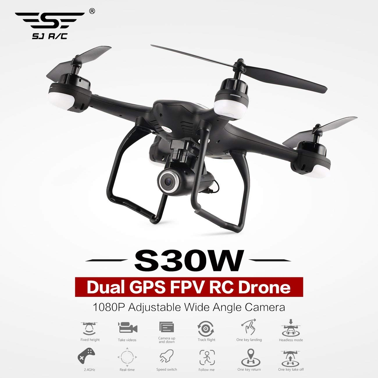 LasVogos SJ R/C S30W 1080P Ajustable Cámara Gran Angular GPS Doble FPV RC aviones no tripulados de cernido