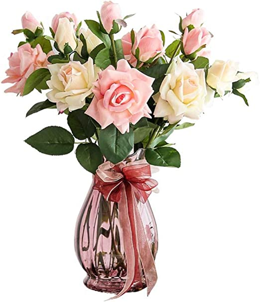 32cm Pink Ornaments Artificial Flowers in Vase Home Decorations Gift