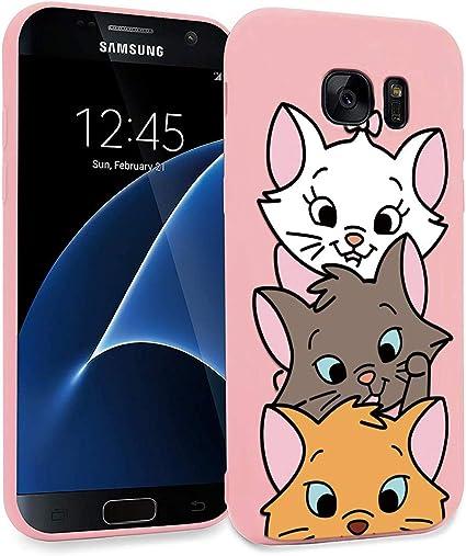 ZhuoFan Funda Samsung Galaxy S7 Edge, Cárcasa Silicona Rosa con Dibujos Diseño Suave Gel TPU Antigolpes de Protector Piel Case Cover Bumper Fundas para Movil Samsung Galaxy S7Edge, 3 Gato: Amazon.es: Electrónica