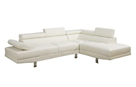 Poundex 2 Pieces Faux Leather Sectional Right Chaise Sofa White  sc 1 st  Amazon.com : sectional pieces - Sectionals, Sofas & Couches