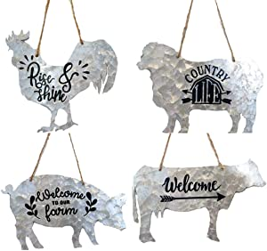 Direct International Metal Farm Animal Hanging Rope Wall Sign Set of 4 Pig, Cow, Sheep, Rooster Country Chic Rustic Home Decor