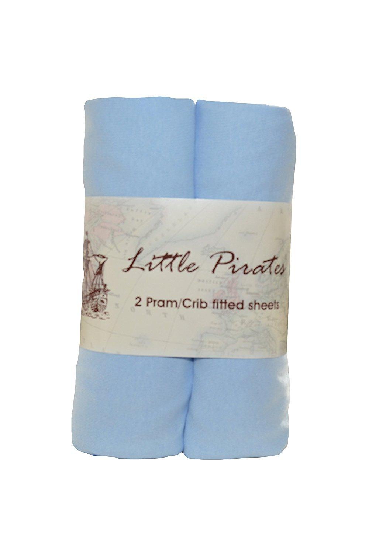 2 x Baby Pram/Crib/ Moses Basket Jersey Fitted Sheet 100% Cotton Blue 40x90cm Bobbico Ltd