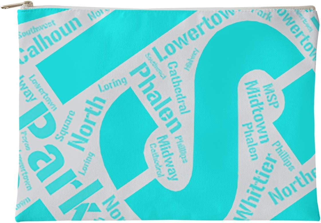 Minnesota Districts Word Art-Cyan Accessory Pouch-Natural Color Zipper ArtVerse Rand Cites Minneapolis Saint Paul