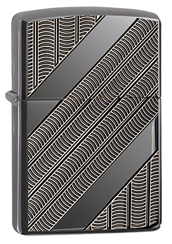 Zippo Armor Coils Pocket Lighter, Black Ice