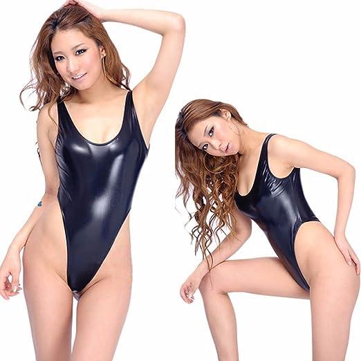 51f6c6dd10c0 FEESHOW Women's Metallic One Piece High Cut Swimsuit Swimwear Bikini Thongs  Black One Size