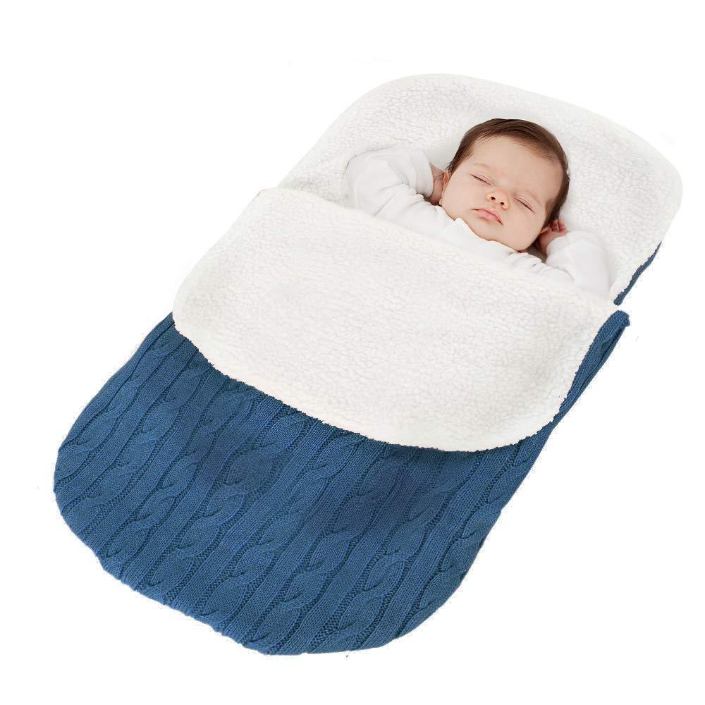 Fußsack Kinderwagen Baby Schlafsack Strickend Winter Buggy Babyschale Winterfußsack (Beige) FullLove