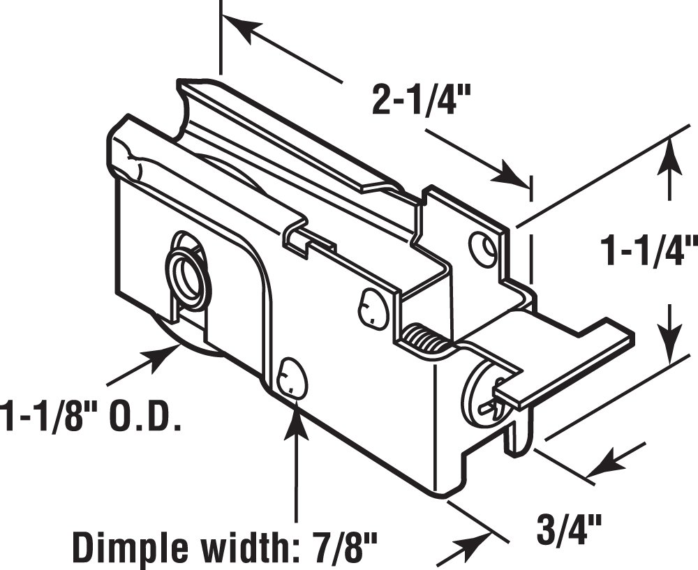 Prime-Line Products D 1523 Sliding Door Roller Assembly with 1-1//8-Inch Steel Ball Bearing