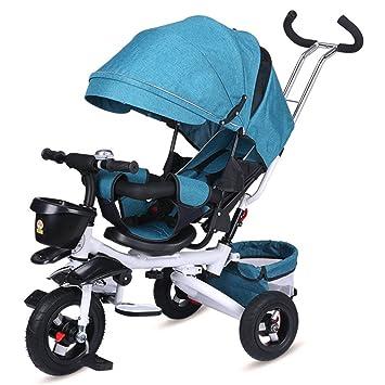 Lvbeis Niños Triciclo Sun Canopy Bicicleta Plegable ExtraÍBle Mango 1-5 Años,Blue