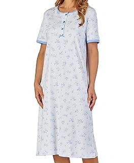 Slenderella Ladies Floral Nightdress Short Sleeve Cotton Interlock Lace  Trim Nightie (Blue Pink) 4f5799ba3