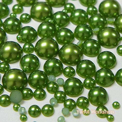 (550pcs, Dark Green) Mixed 3mm, 5mm, 8mm, 10mm Faux Half Round Flatback Pearl Resin Cabochons Scrapbooking Nail Craft ()