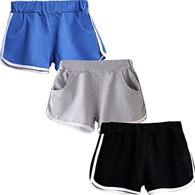 Beauty_yoyo Teen Girls Running Shorts Gym Workout Yoga Sport Performance Short (Pack of 3): Clothing