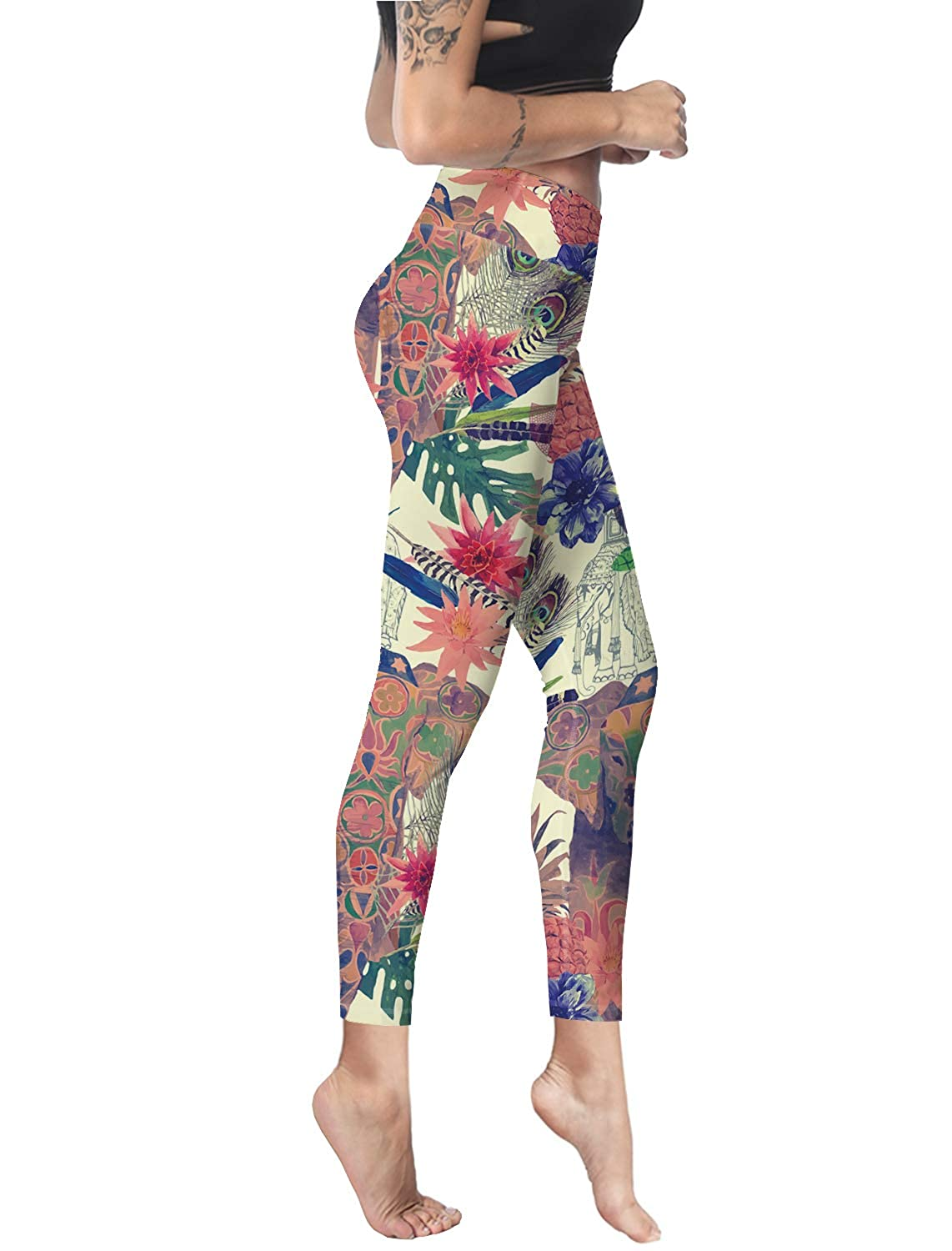 1cbd9eb7ffd29c Women Stretch High Waist Yoga Pants Running Tights Indian Style Peacock  Feather Elephant Pattern Capris Compression Workout Leggings at Amazon  Women's ...