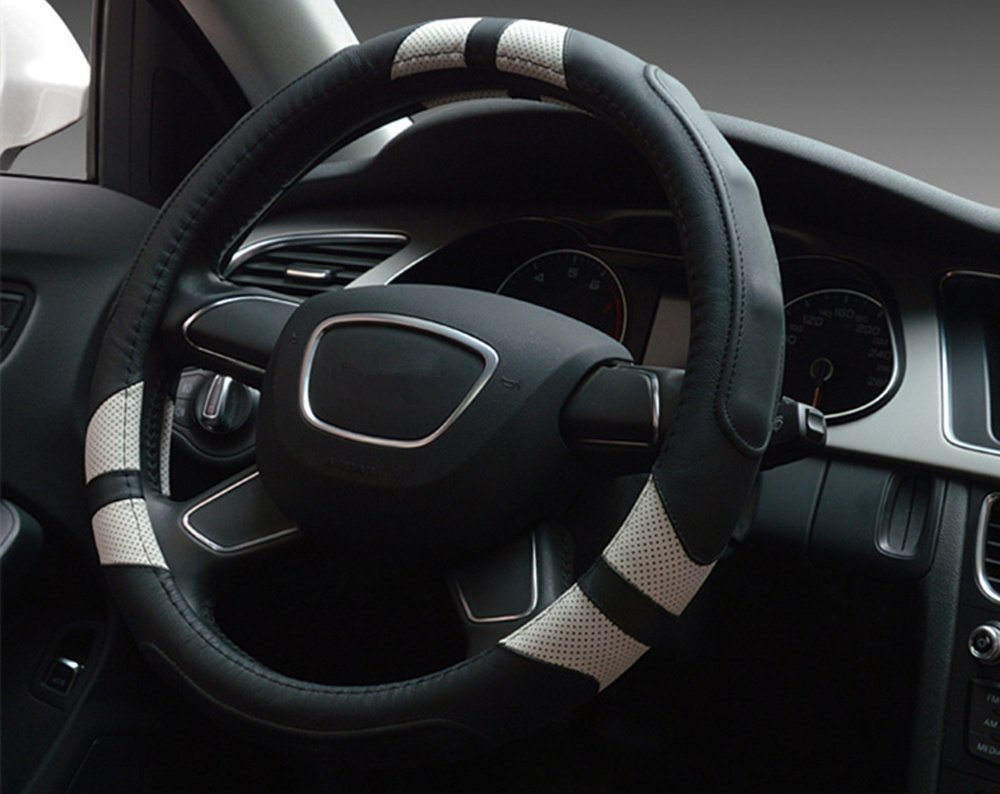 Dee-Type Leather Steering Wheel Cover Universal 15 inch Black /& Brown