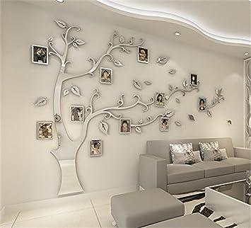 Diy 3d Riesiger Bilderrahmen Baum Wandtattoos Fotorahmen Baum Wandaufkleber Kristall Acryl Malen Wanddeko Wandkunst Silber Recht Xl