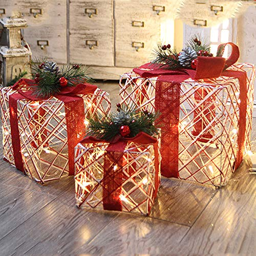 MSOO Christmas Luminous Gift Box Home Outdoor Decoration Set of 3 Glowing Package for $<!--$61.13-->