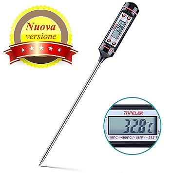 Topop Termómetro Digital de Cocina con Sonda Lectura Instantánea, Larga, Pantalla LCD, Anti