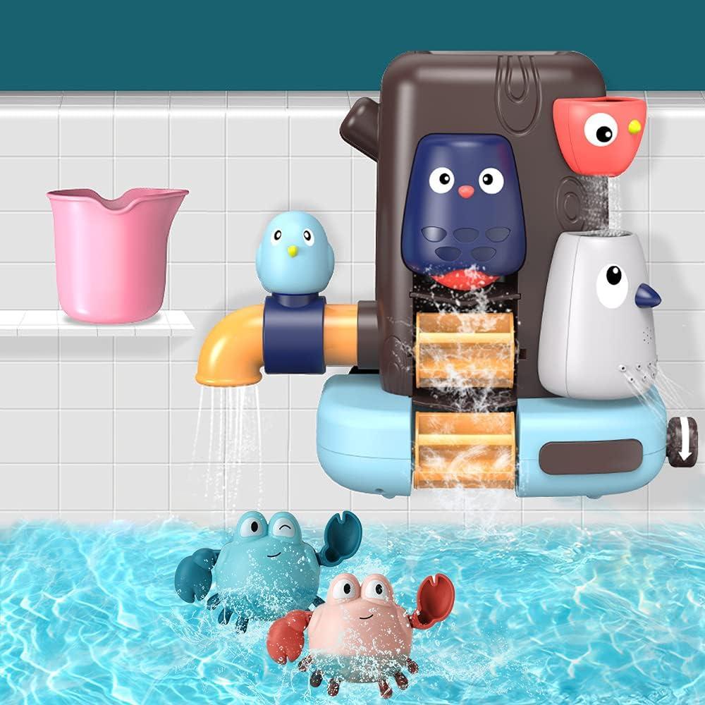 Gobesty Juguetes para el baño del bebé, juego de juguetes para el baño del bebé, juguetes para la bañera con cascada, rociador de agua y giro, juguete para la bañera del bebé para niños de 6 meses más