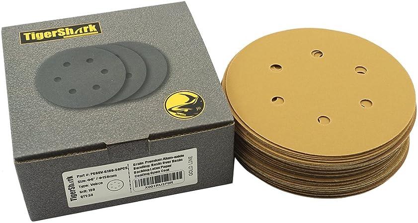 "50 Pack 180 Grit 6/"" Inch Hook and Loop Sanding Discs Orbital DA Sanding Paper"