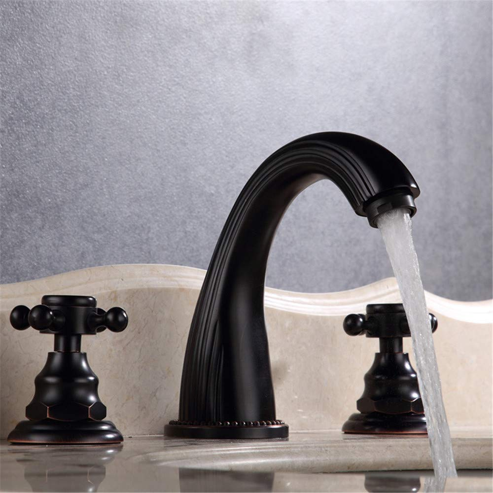 Oudan Black Mixed Water Basin Faucet Body with Three Holes Entire Copper Bathroom Faucet (color   -, Size   -)