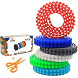 Building Blocks Tape for Lego - M MOOHAM Peel and Stick Washable Toy Loops Compatible With Lego Bricks Collection Construction, 6 Colors 3.2 Feet of Each,Bonus a Safe Scissors